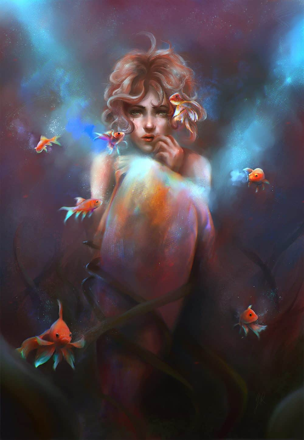 Girl with Goldfishes by Gabrielle Ragusi