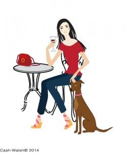 cafe girl and dog by Tina Cash-Walsh