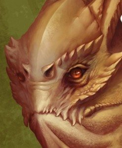 Detail of Lizard Man Portrait by Jimmy Yeung