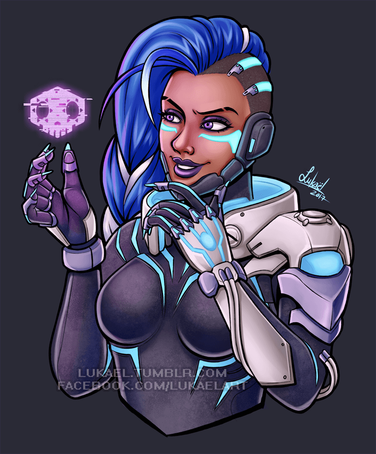 ArtCorgi portrait of Sombra from Overwatch by Lukael