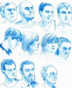 Blue Pencil Portraits by iella