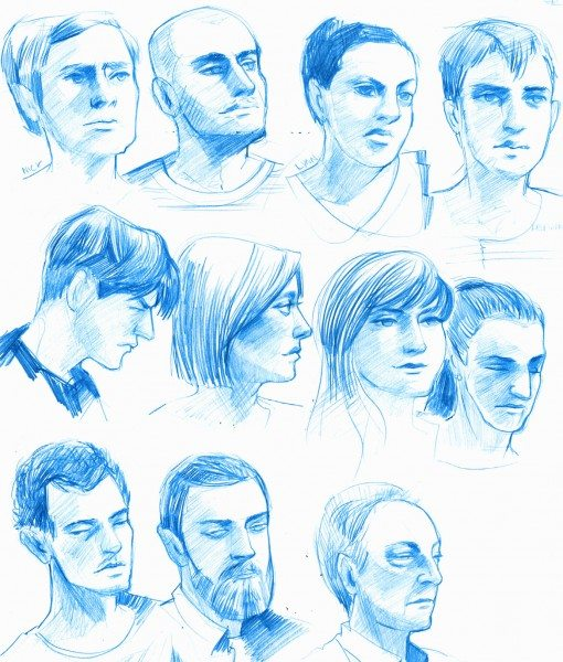 Blue Pencil Portraits by iella