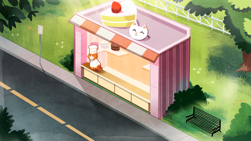 Shop Front wtih Chef Cat by Louie Zhong