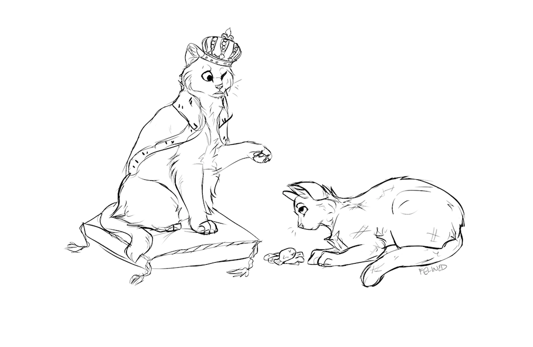 Sketch of Boots and Blaze by Felined