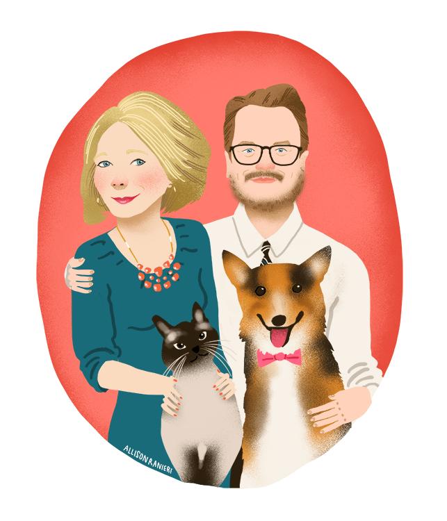 Couple and Pet Portrait by Allison Ranieri Illustration