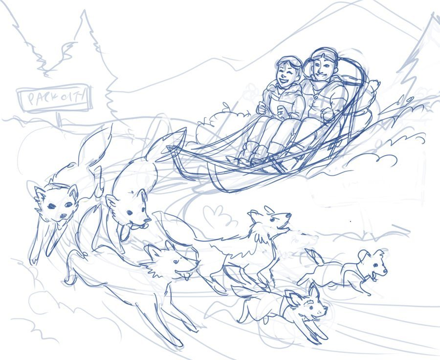 Dog Sled Illuion Sketch by Joseph Lee Highlighting Lines