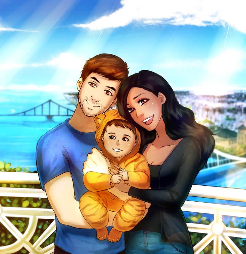 Family portrait Commission for Juli by Lucia Garcia ArtCorgi