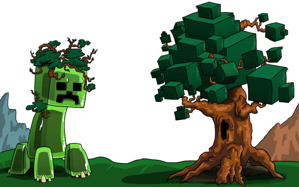 This Minecraft-inspired illustration was created in the style of ...: artcorgi.com/blog/featured/minecraft-lets-play