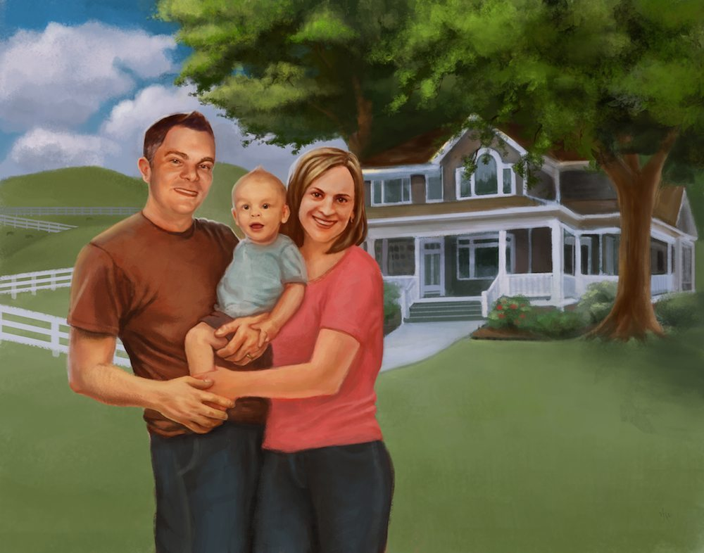 Portrait of The Bentley Family with Rings by Studio Catawampus