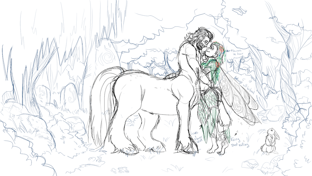 Sketch of The Centaur and the Wood Nymph by Denitsa Trandeva