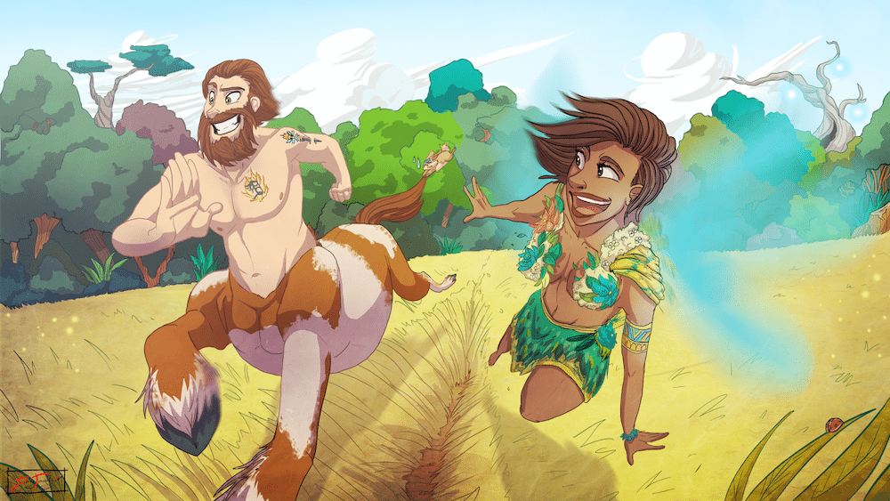 The Centaur and the Wood Nymph Racing by Denitsa Trandeva