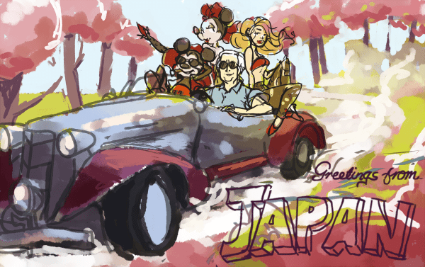 WIP Illustration of Greetings from Japan by Tuna
