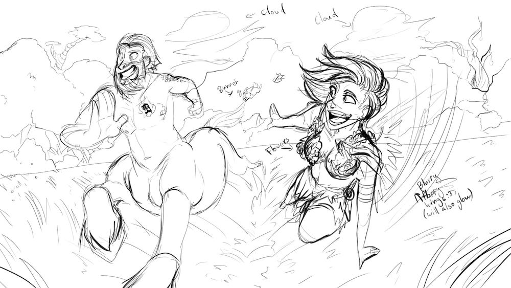 WIP of the racing Centaur and Wood Nymph by Denitsa Trandeva