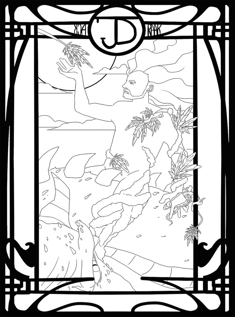 Art Deco WIP Line Drawing for Jack Draak by Omniopticon