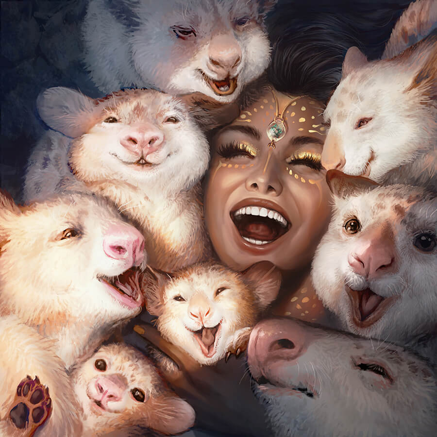 ArtCorgi - Stylized Illustrations by Nell Fallcard - Woman surrounded by animals