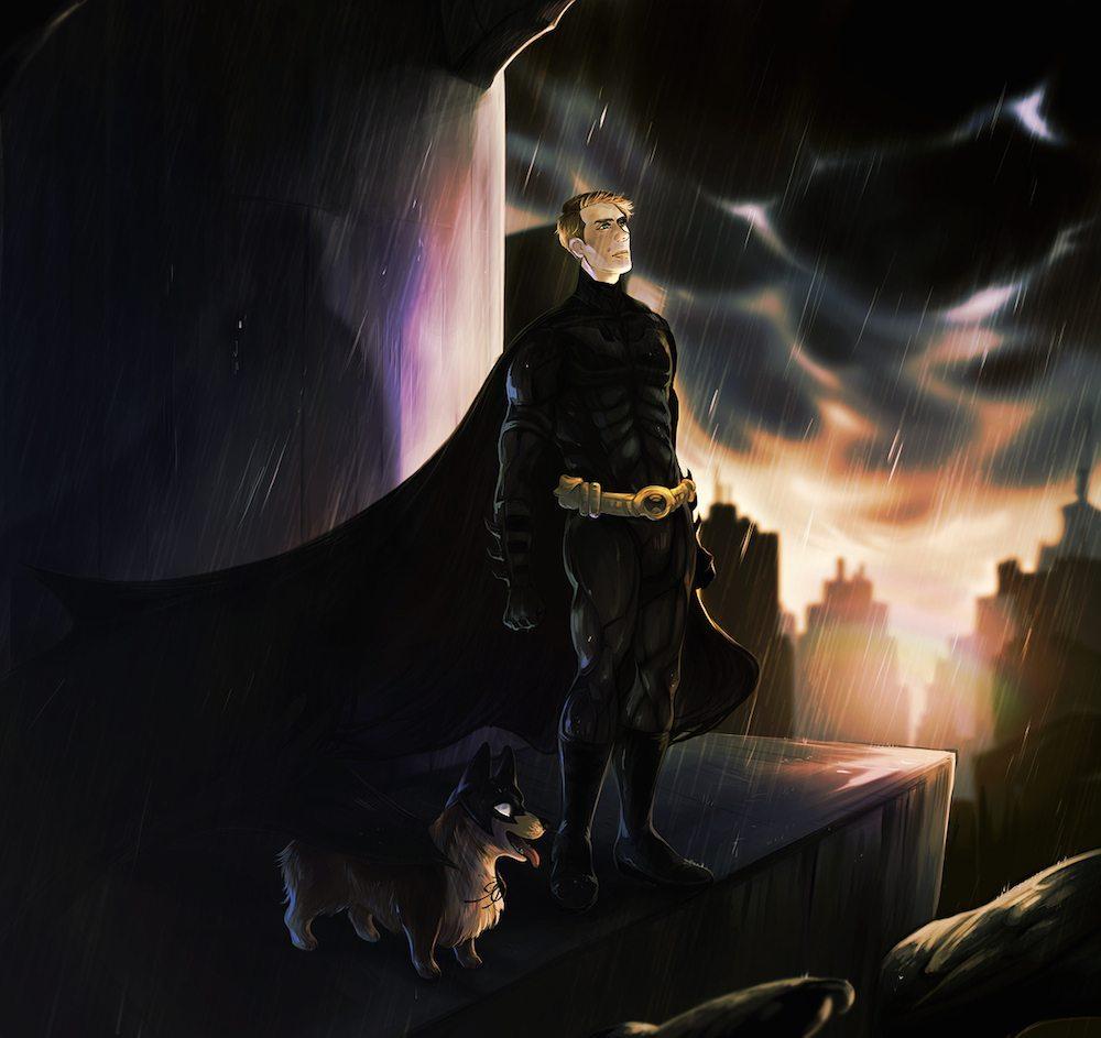 Batman and BatCorgi by Railgunner
