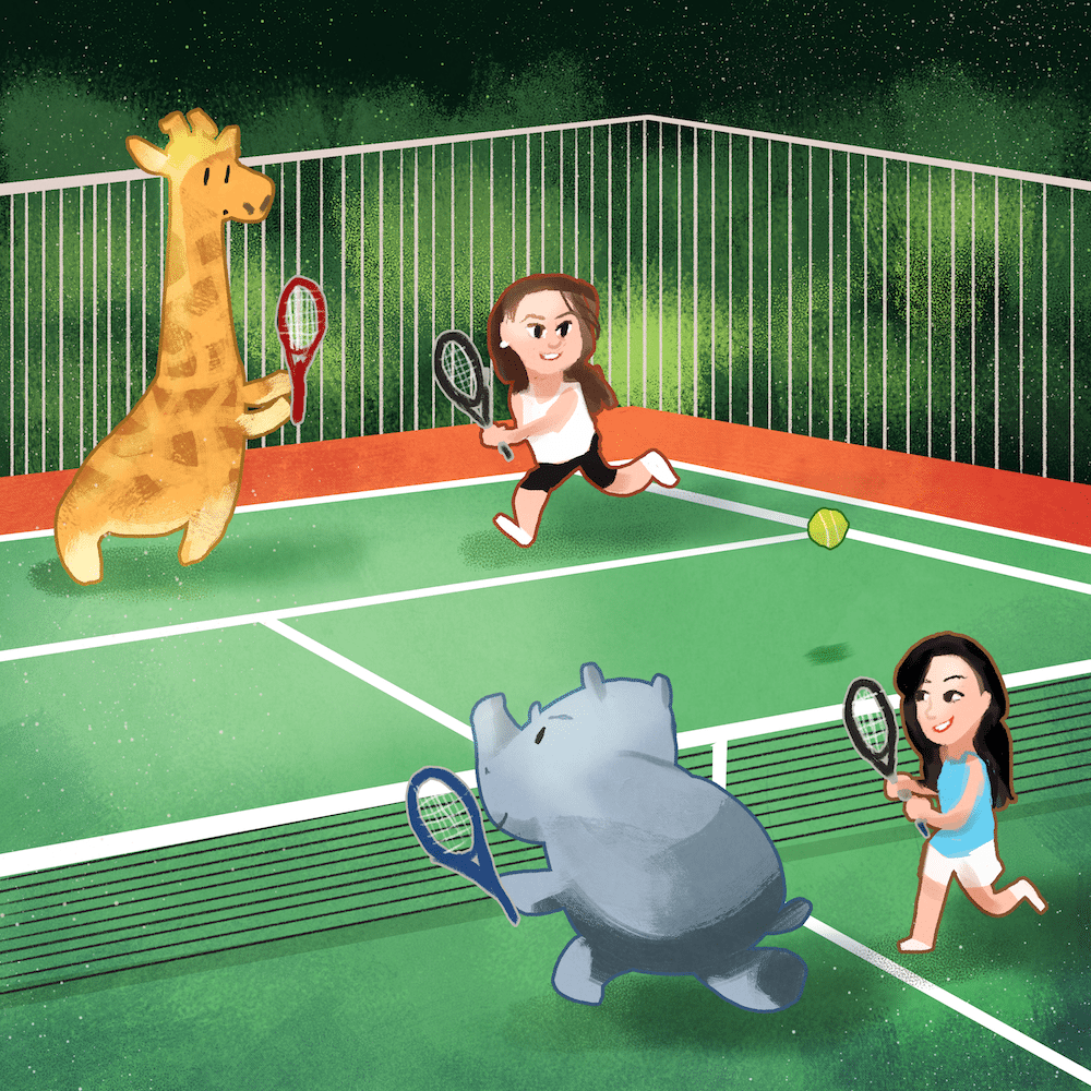Doubles Tennis by Louie Zong