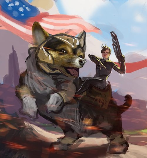 Illustration of Malcolm Collins riding into battle on a corgi by Bloodyman88
