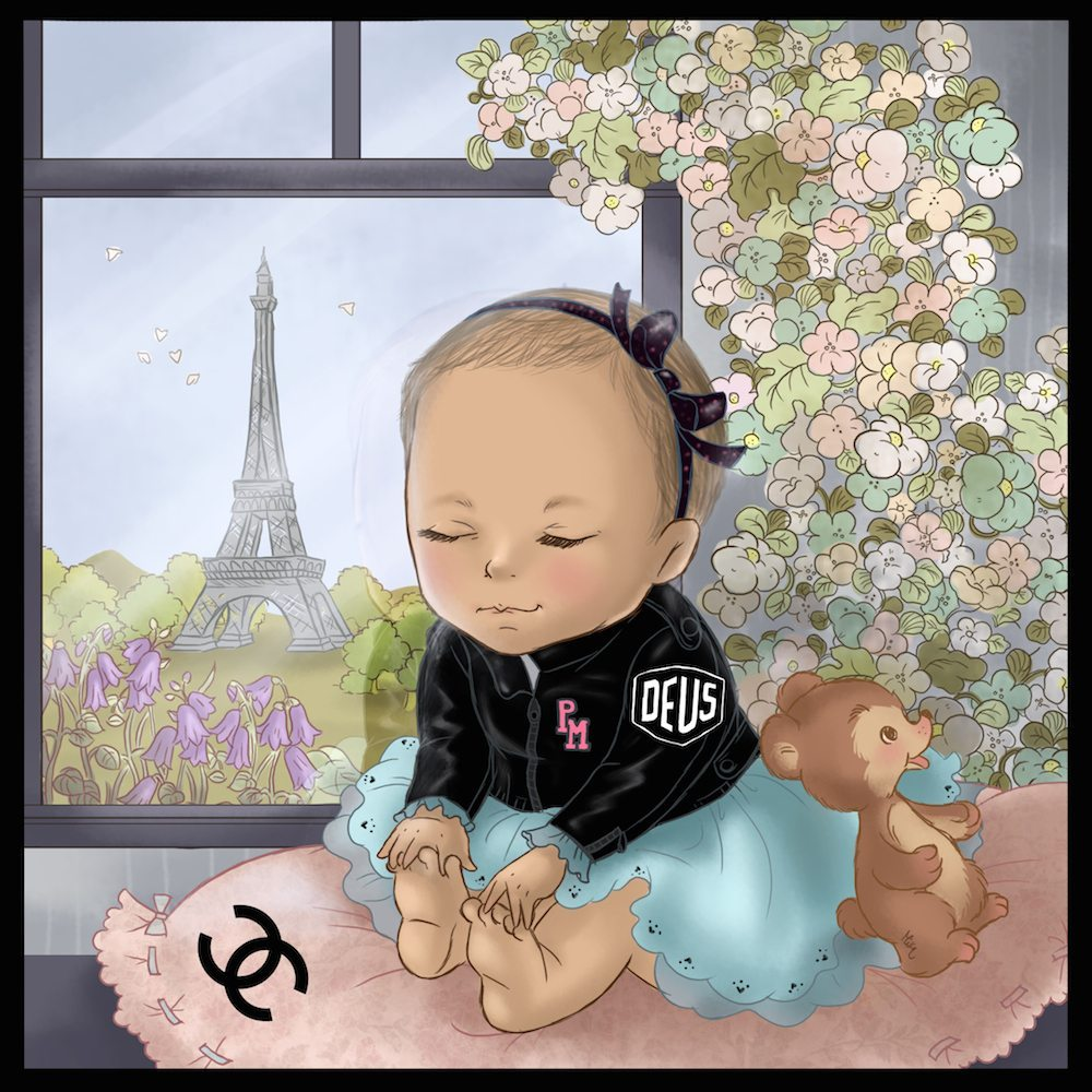 Illustration of the Baby Paris in Paris by Mika Madden