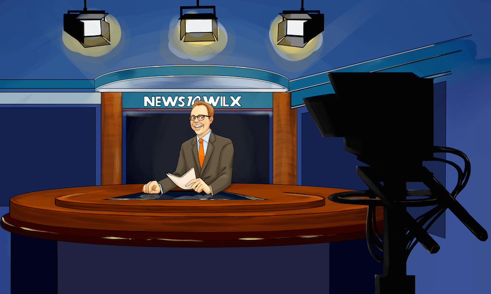 Kirk in the Newsroom by KrisBrannock via ArtCorgi