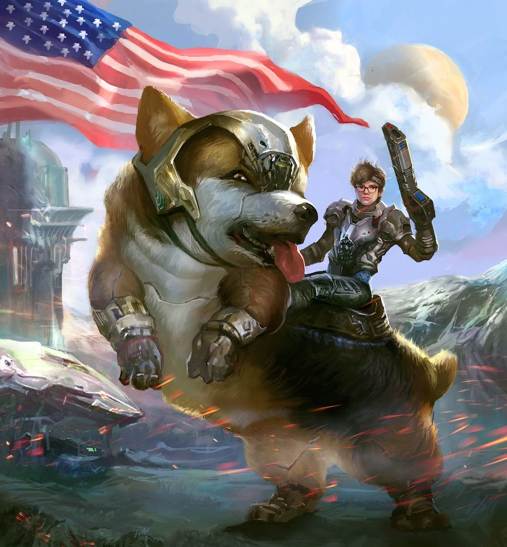 Malcolm Collins Riding a Corgi into Battle by Bloodyman88