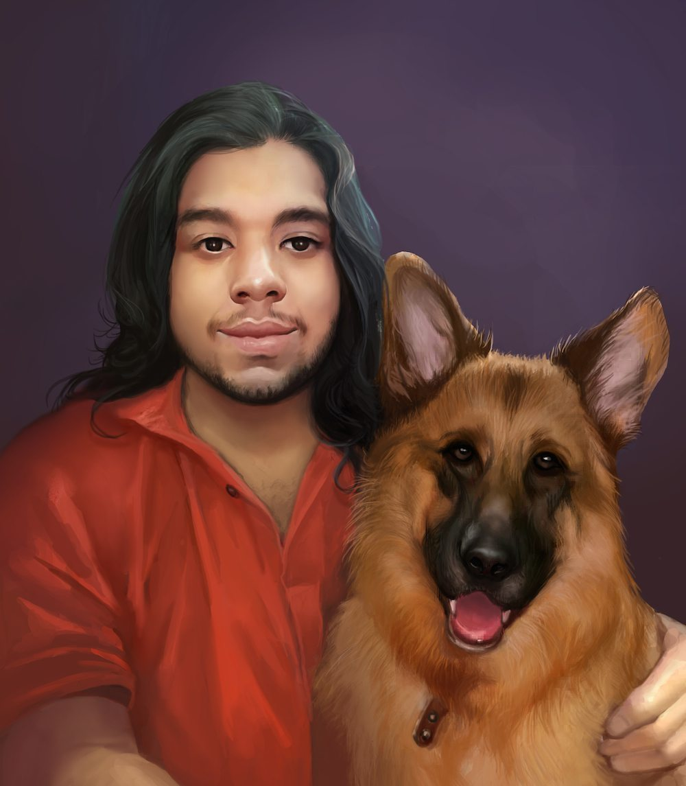 Portrait of George and his German Shepherd by Bloodyman88