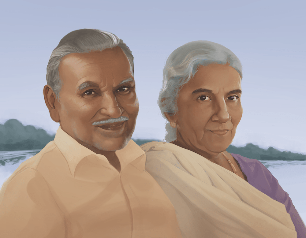 Portrait of Mr and Mrs Nair by Stephanie Campbell