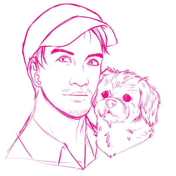Revised Portrait Sketch of Gabriel and Sugar by Torri