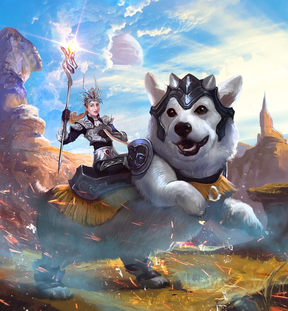 Simone Collins Riding Into Battle on a White Corgi by Bloodyman88