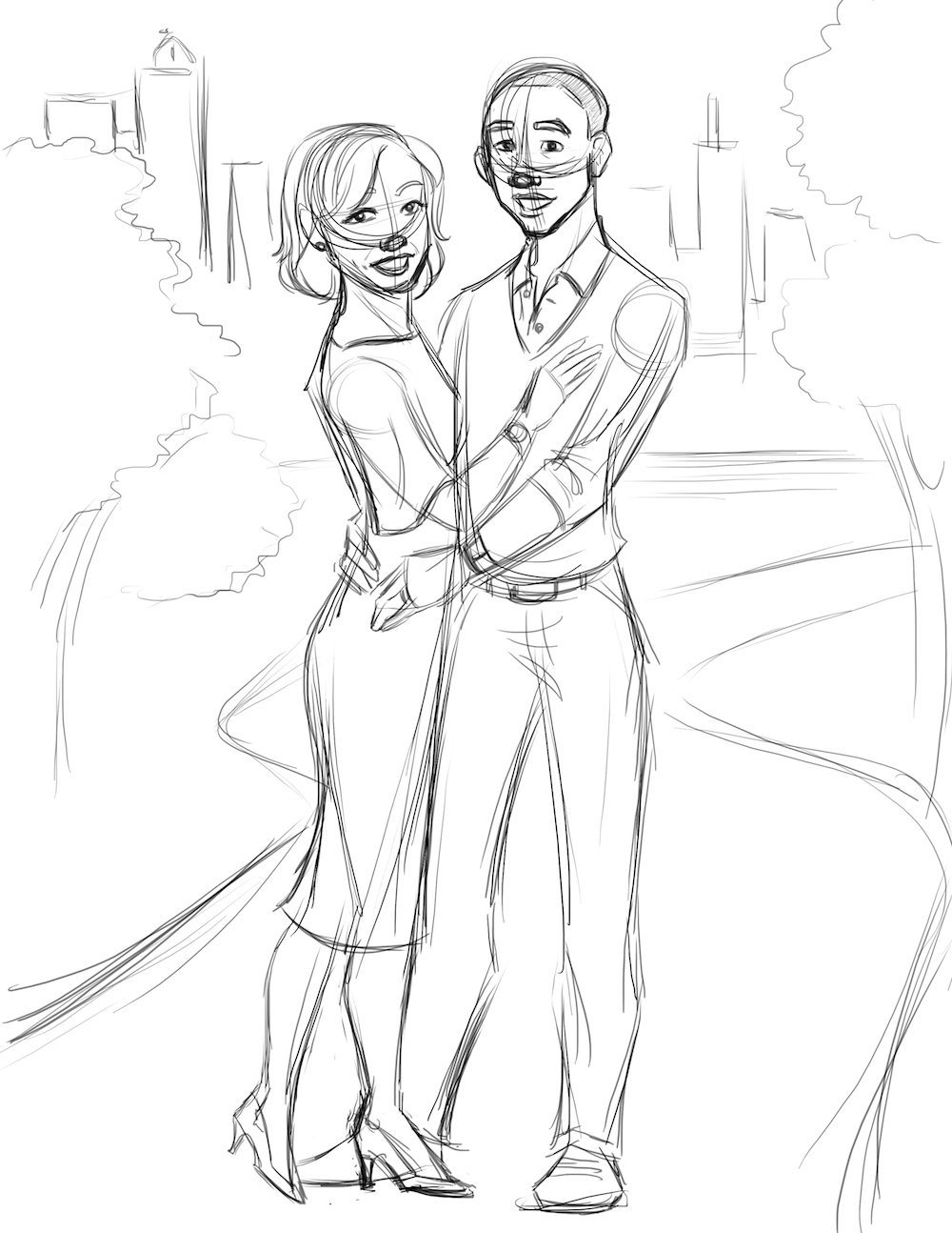 Sketch of a Couple by Drew Graham