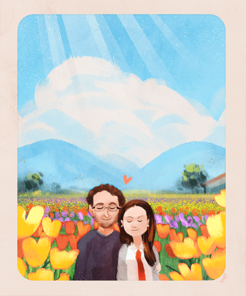 The Couple in the Tulips by Louie Zong