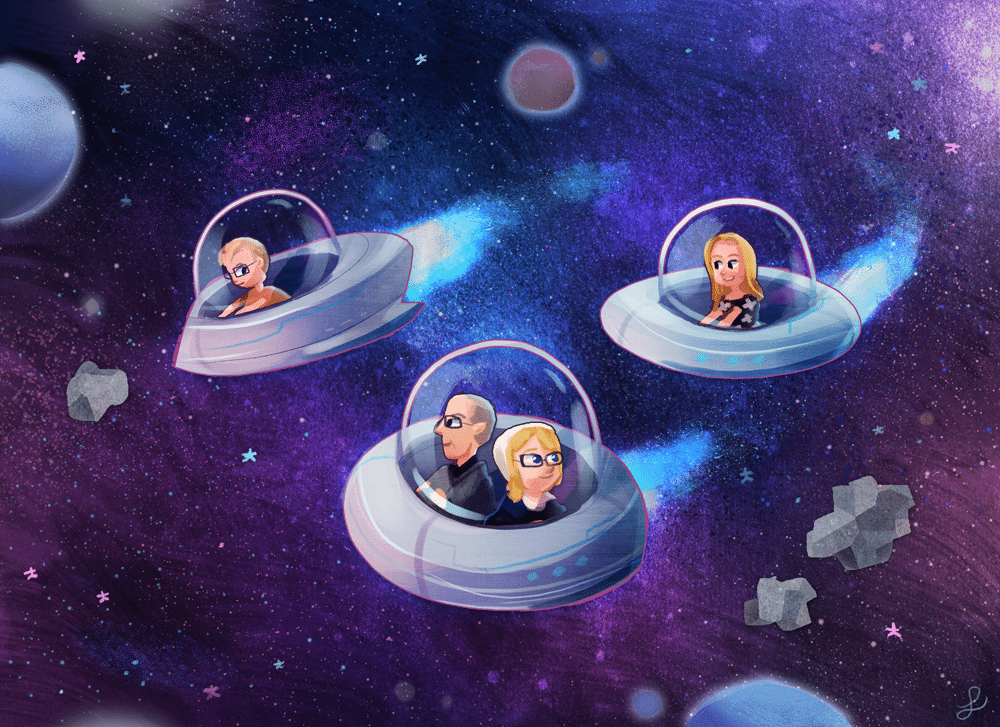 The Low Family Flying Through Space by Louie Zong