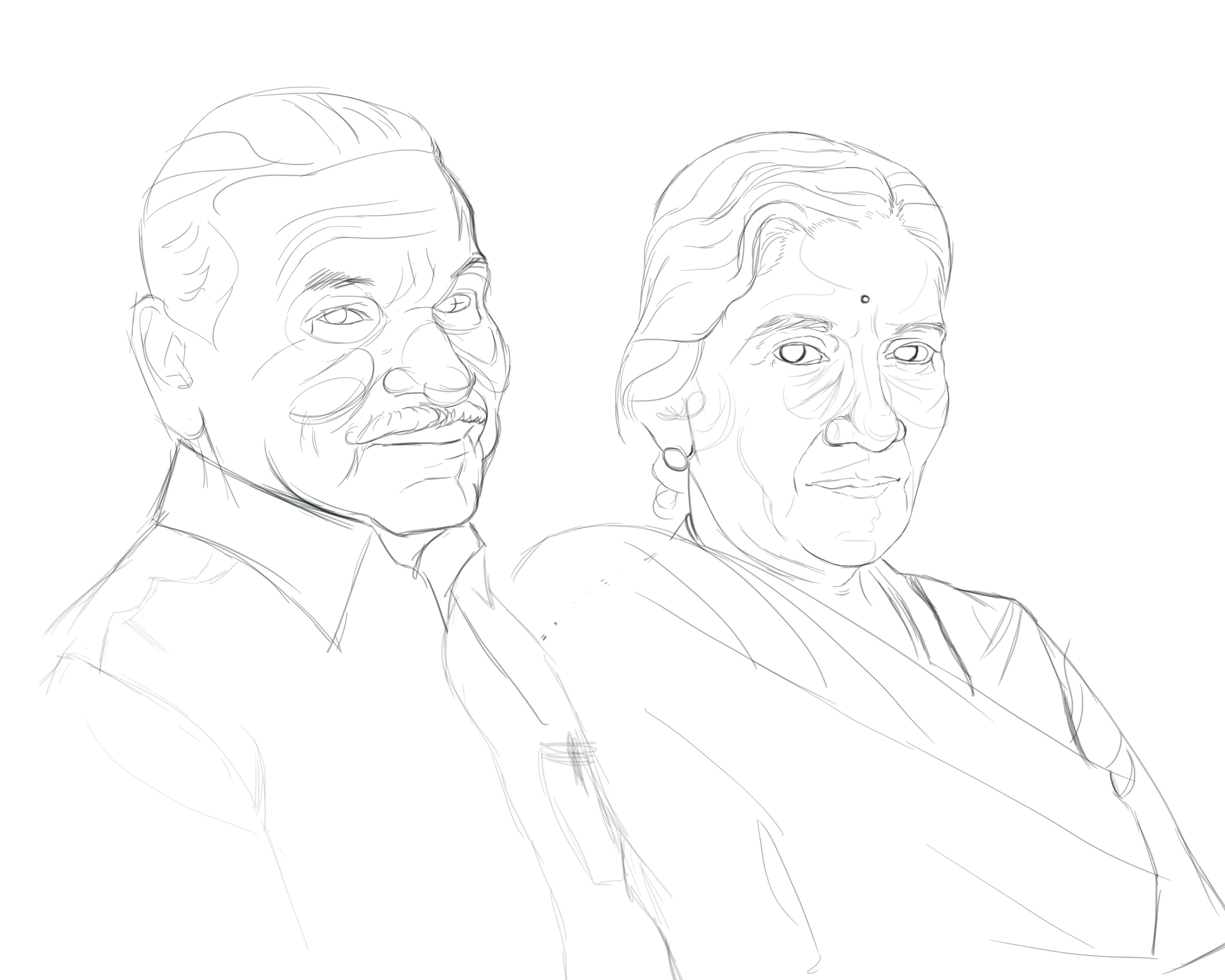 WIP Line Drawing of Portrait by Stephanie Campbell