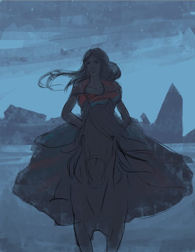 WIP Painting of The Woman in the Desert by Nell Fallcard