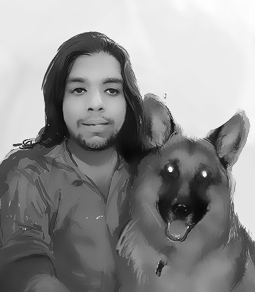 WIP Portrait of George and his Dog by Bloodyman88