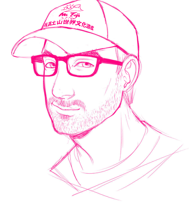 WIP Portrait of Sean in Mt Fuji Hat by Torri