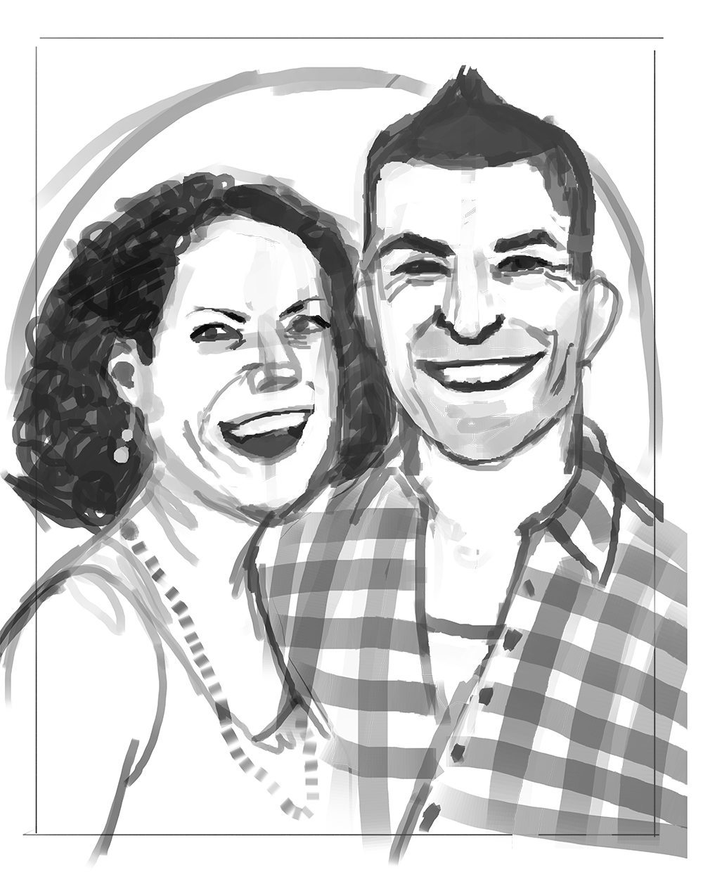 WIP Portrait of the Crosley Couple by Jenny Stout