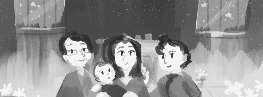 WIP Portrait of the Gilbert Family by Louie Zong