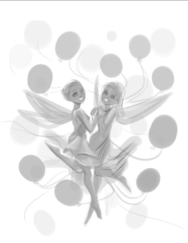 WIP Sketch of Dancing Fairies by Nell Fallcard