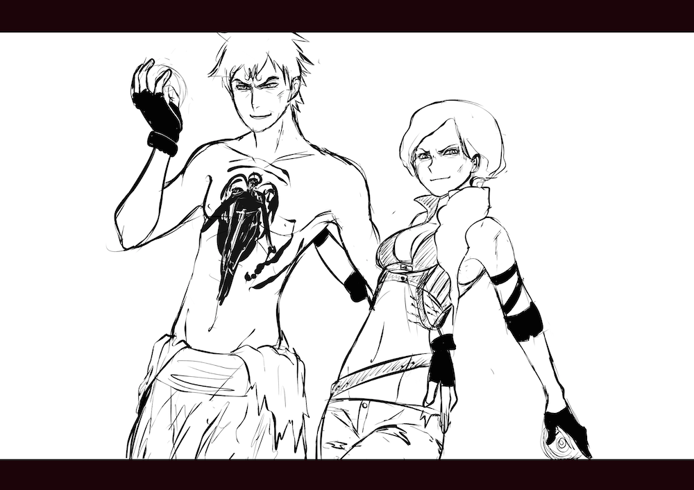 WIP of Alex and Michael heading into battle by Lucia Garcia Lines