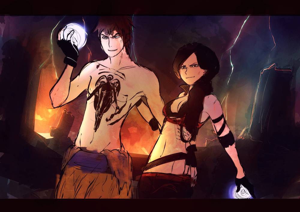WIP of Alex and Michael heading into battle by Lucia Garcia