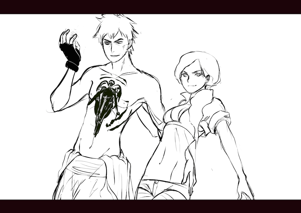 WIP of Alexandra and Michael Heading into Battle by Lucia Garcia Lines Only