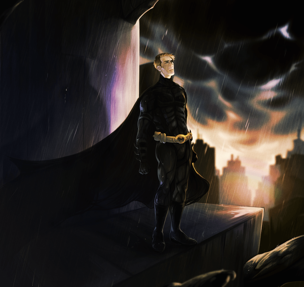 WIP of Patrick as Batman by Railgunner