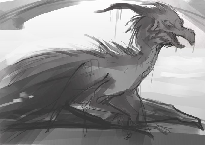 WIP of The Deceased Dragon by iella