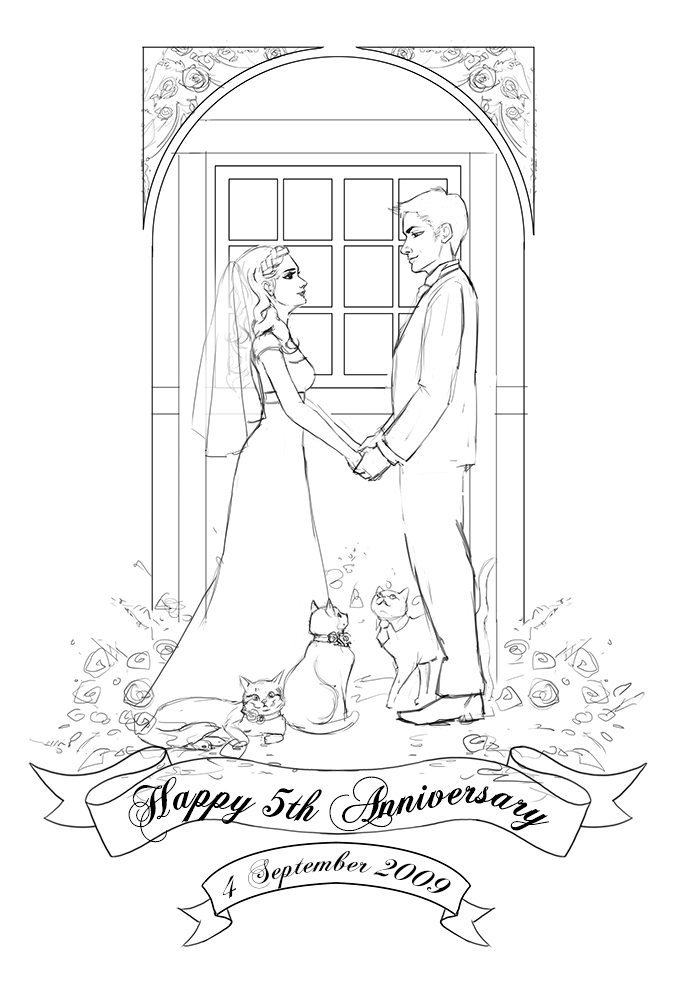 Bonus WIP Commission Draft for Bride and Groom by Angeline Roussel