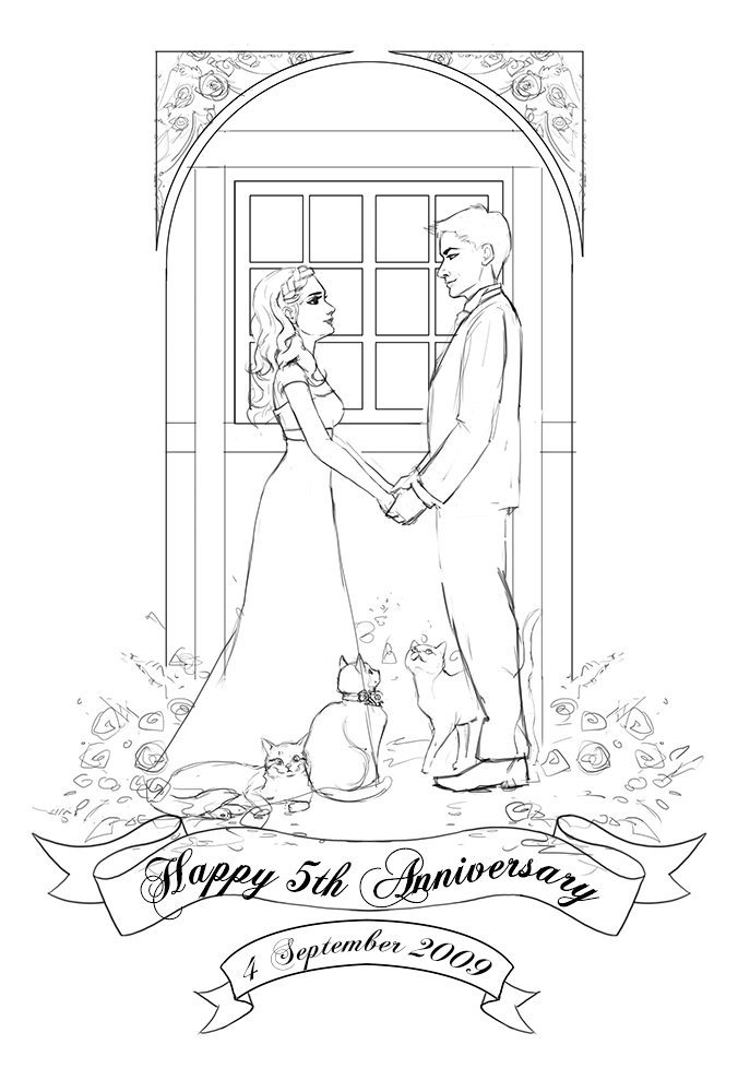 Fifth Wedding Anniversary Art for Vicky WIP by Angeline Roussel