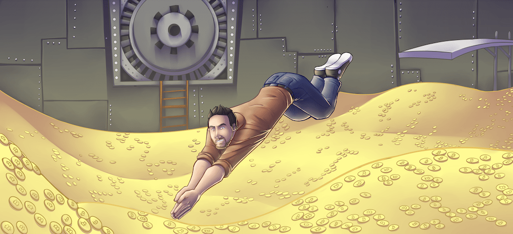 George Burke Diving Into a Pool of Bitcoins by Silvadoray via ArtCorgi