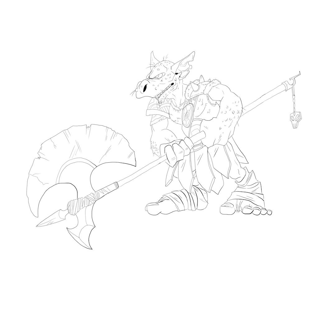 Goblin Gladiator Lineart by Denitsa Trandeva