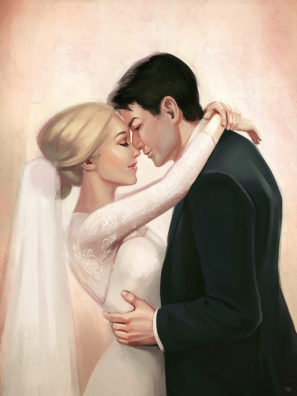 Lucy and Miles as Bride and Groom by Angeline Roussel via ArtCorgi