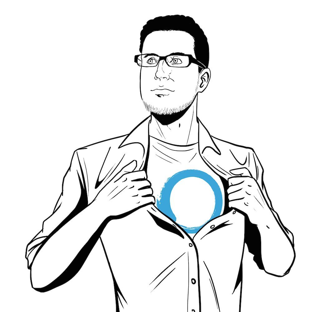 Portrait of Eric Ries by Blacksmiley via ArtCorgi with Lean Startup Logo